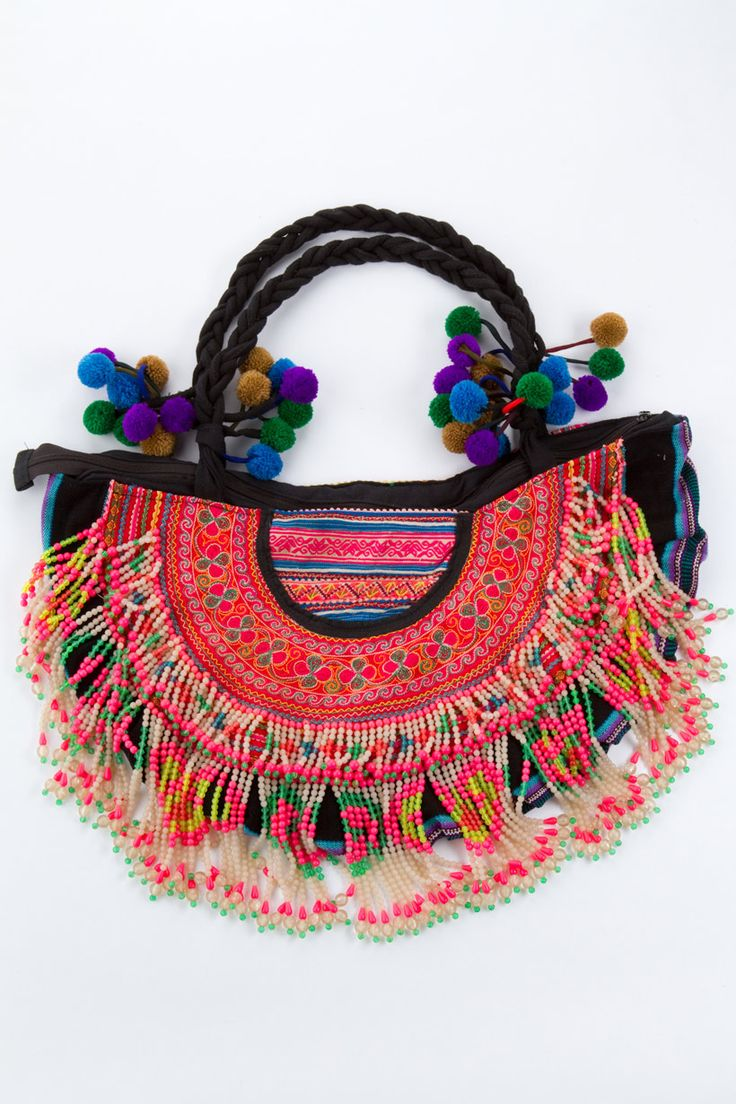 Cambodian Tribal Bag- Could I make this from Buttercup Purse Pattern then add braided handles lots of pom poms, and some tapestry ribbon and beaded fringe