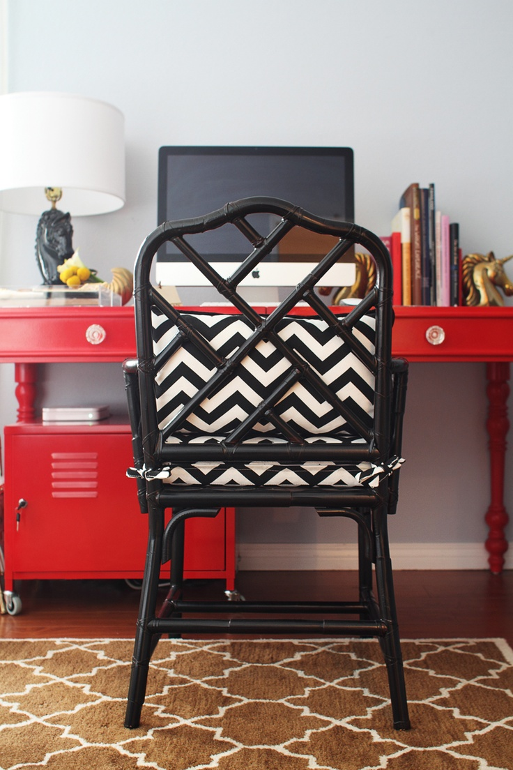 Black + White + Red. Rue Magazine.: Desks Chairs, Red Desks, Bamboo Chairs, Offices Spaces, Work Spaces, Black White, Black Chairs, Home Offices, Red Black