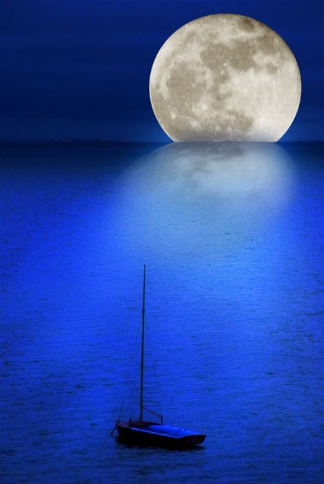 Blue sea and full moon