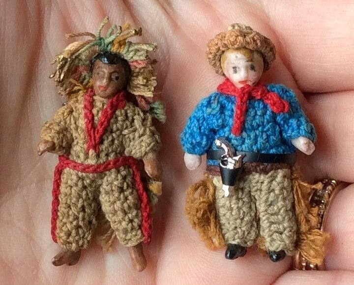 "Tiny ANTIQUE Carl Horn COWBOY & AMERICAN INDIAN CHIEF 1.5"" German Bisque Doll"