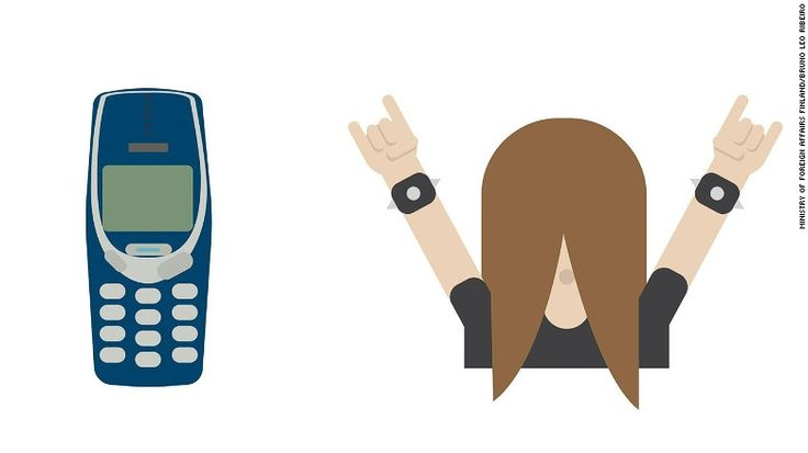 "In a nod to Finland's status as the heavy metal capital of the world, there's a long-haired rocker emoji and one depicting an ""unbreakable"" Nokia 3310."