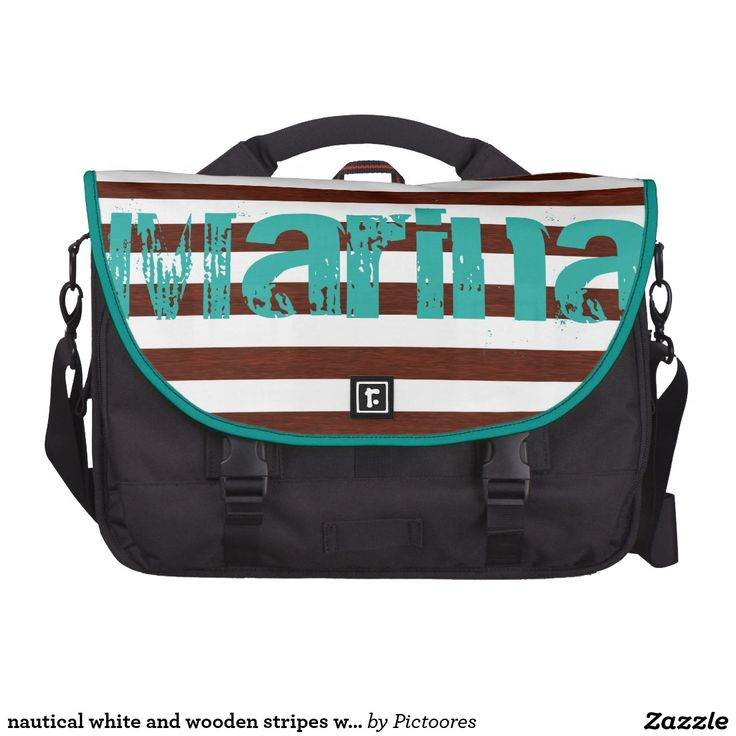 nautical white and wooden stripes with grunge name commuter bags