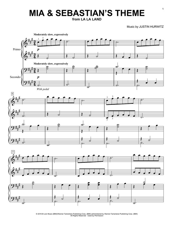 Download Piano Duet sheet music to Mia & Sebastian's Theme by Justin Hurwitz and print it instantly from Sheet Music Direct.
