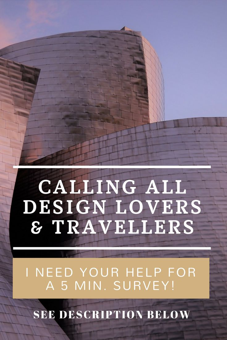 Do you love going to different cities and towns to see unique buildings and structures and getting further insights into a society's history and culture through design, then I NEED YOUR ADVICE! This is a SHORT 5-minute survey to gather your opinions. *Link*: https://www.surveymonkey.com/r/CP8KS28 The survey is confidential and used for the sole purpose of market research. Thanks for participating and feel free to share the link with anyone else who might be interested. :-)