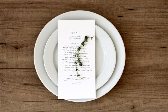 Printable Wedding Menu Kit on #etsy. http://www.etsy.com/listing/99750728/printable-modern-organic-menu-card-diy