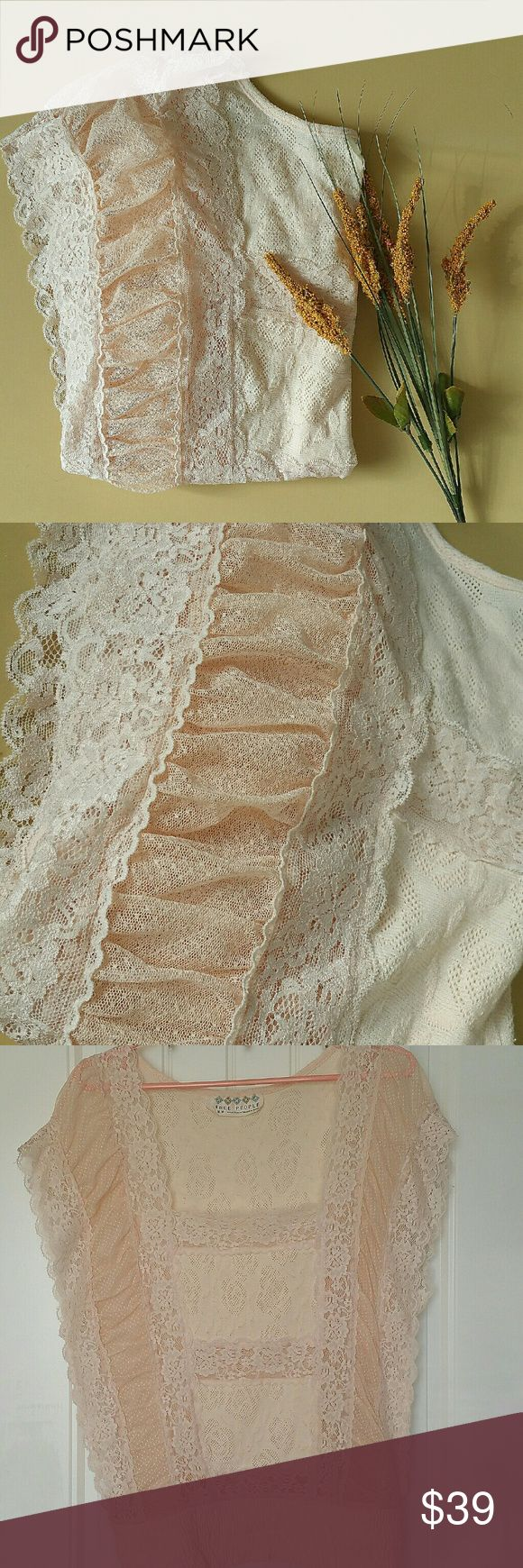 Free People Peach Lace Blouse This is a beautifully feminine peach lace blouse by Free People!   Intricate lace design with vertical ruching. Stretch hem and see through body. Wear a bralette or a neutral cami underneath! Free People Tops Blouses