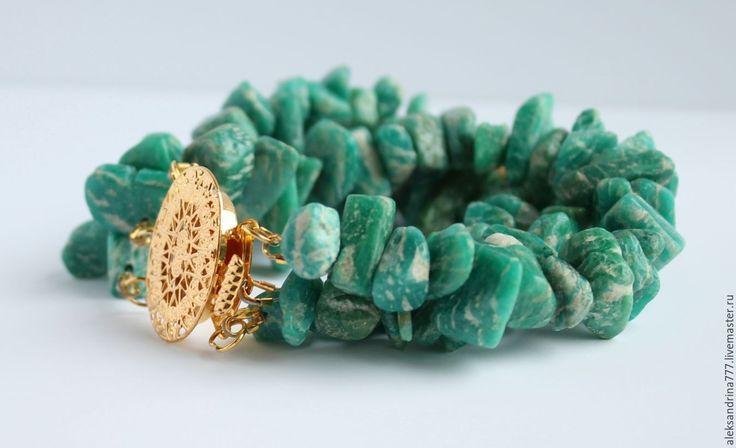 Купить БРАСЛЕТ  ИЗ  АМАЗОНИТА - морская волна, браслет, Браслет ручной работы, браслет из камней