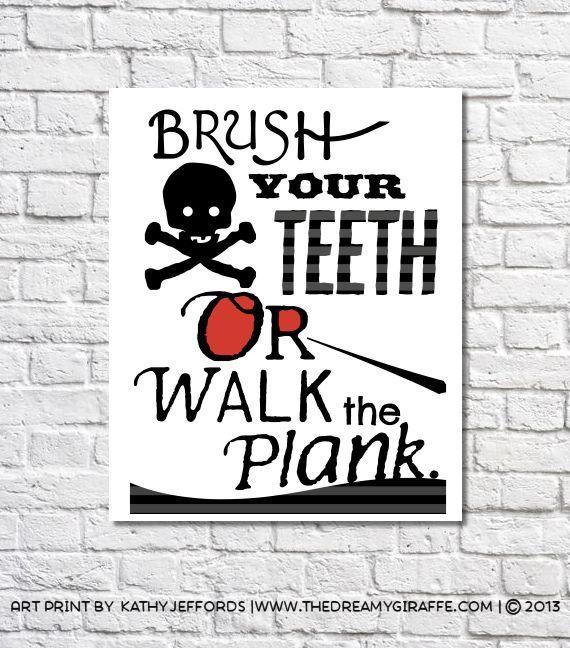 Boys Bathroom Decor Brush Your Teeth Print Pirate Bathroom Wall Art  Nautical Bathroom Rules Kids Bathroom
