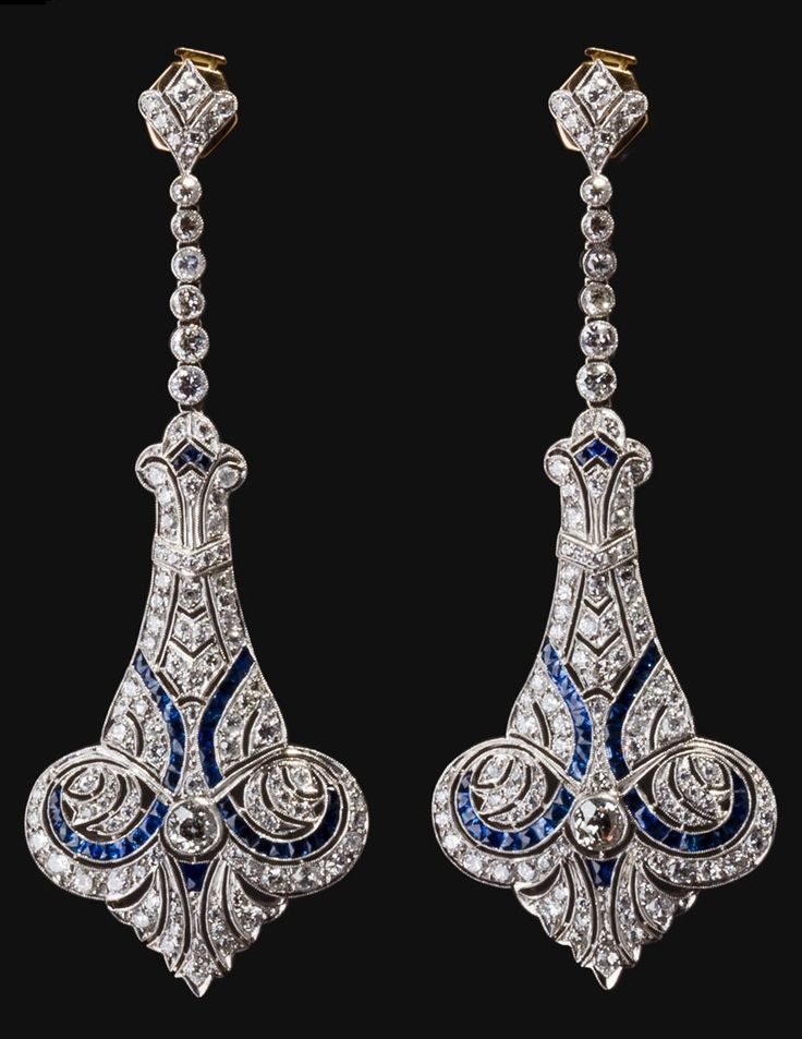 A pair of Edwardian diamond, sapphire and platinum ear pendants, English, 1910. #Edwardian #antique #earrings