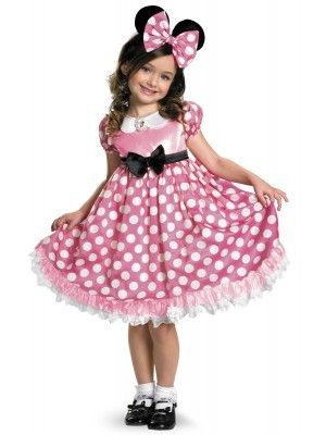 Your mousketeer will love lighting up the night in the Disney Mickey Mouse Club House Pink Minnie Mouse Glow in the Dark Toddler Costume which includes a cute character dress with glow in the dark polka dot details and a matching mouse eared headband. #Halloweenkidscostumes