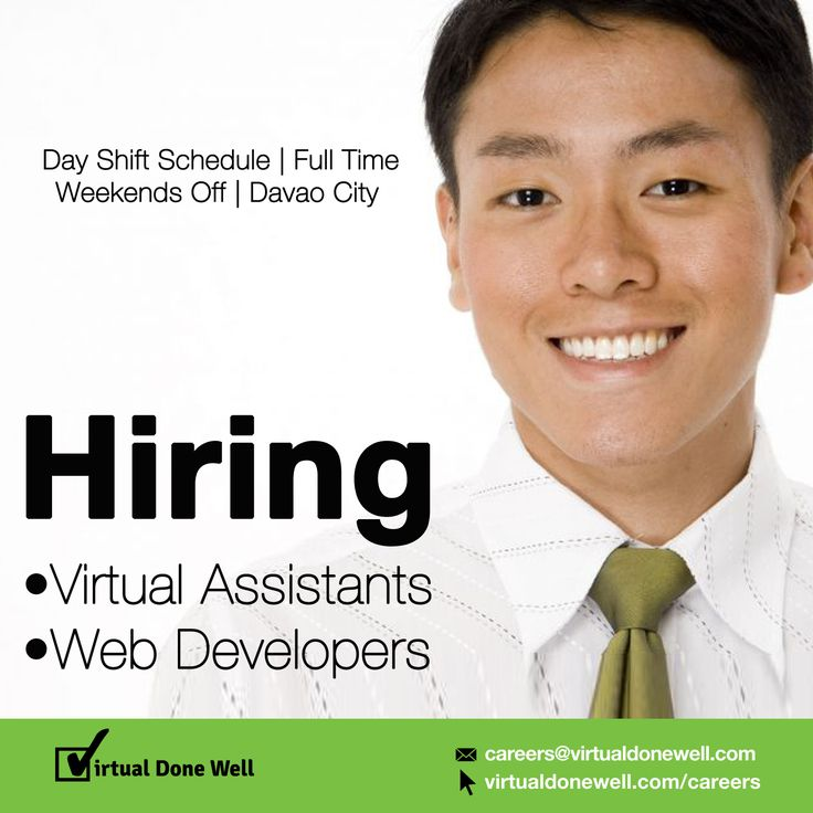 APPLY NOW and get a chance to experience these benefits: •great salaries •HMO Health Insurance •gym membership •caring and considerate management •wonderful clients to work with •a long term career opportunity •training opportunities Send your resume to recruitment@virtualdonewell.com or request your interview schedule here --> http://www.virtualdonewell.com/apply/ #DavaoJobs #CareersAtVDW #NowHiring #Wanted