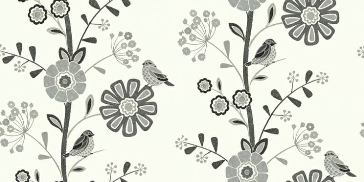 Kew (97193) - Holden Decor Wallpapers - A pretty tree of life design, with a craft stitch effect. Covered in a variety of flowers and the cutest little birds. Shown in the monochrome black and grey version with silver metallic detail. Please request sample for true colour match. Paste the wall.