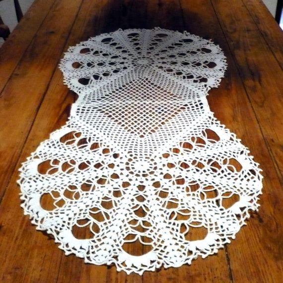 Crochet Table Runner , Vintage Portuguese Crochet Table Center on Etsy, $44.22