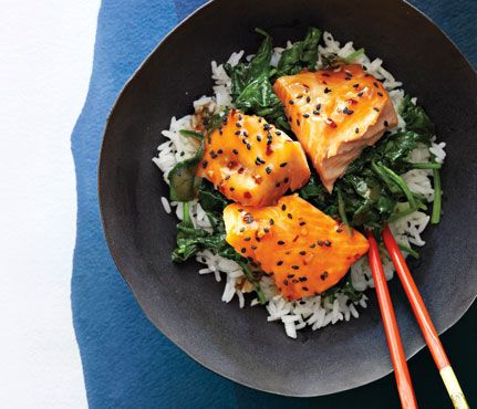 Asian Salmon Bowl with Lime Drizzle Recipe Main Dishes with jasmine rice,
