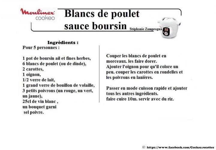 Blanc de poulet sauce boursin cookeo pinterest sauces - Comment cuisiner des blancs de poulet ...