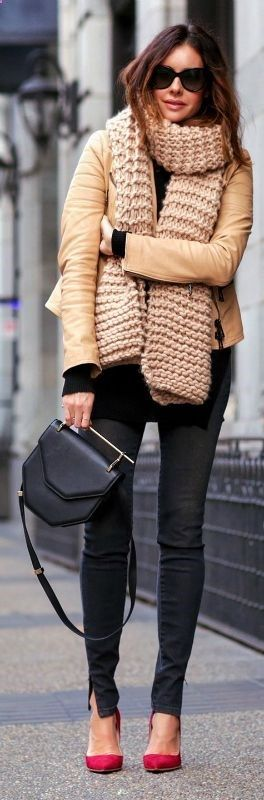 The puffer jacket trend is experiencing a revival this season. Erica Hoida accessorises this camel coat with a gorgeous chunky knit scarf; the ultimate winter piece. Jacket: Belstaff, Shirt: Helmut Lang, Jeans: Victoria Beckham, Shoes: Rupert Sanderson, Scarf: I Love Mr. Mittens , Bag: M2Malletier.... | Style Inspiration