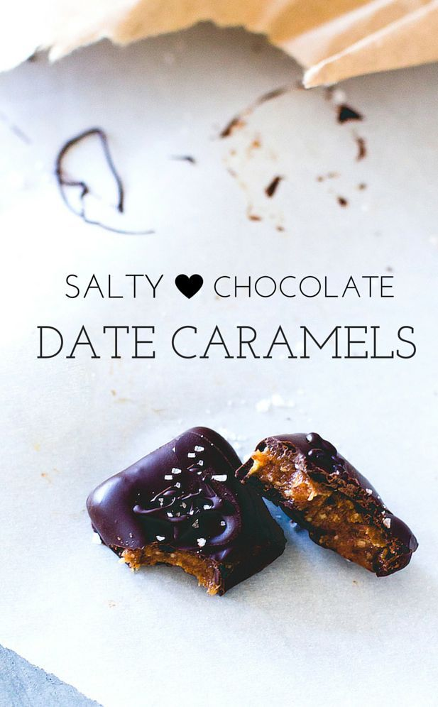 Salty Chocolate Date Caramels are a decadent treat, covered in dark chocolate with a rich, sweet, and creamy center. Paleo and vegan recipe.