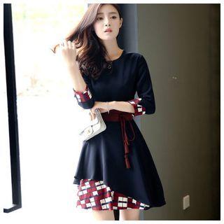 3/4-Sleeve Asymmetric Dress