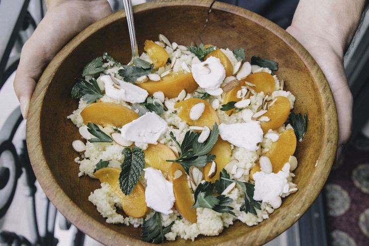 Apricot Couscous Salad with Goat Cheese and Fresh Apricot Vinaigrette