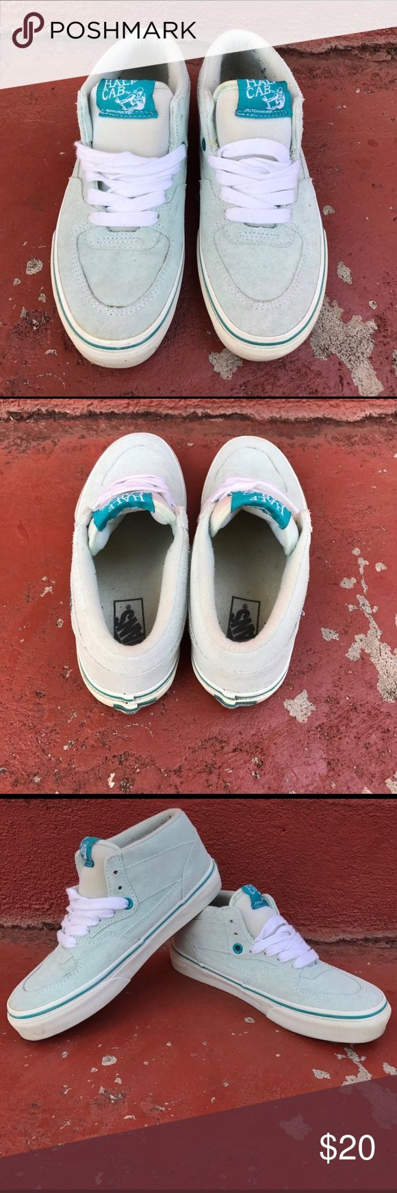 Vans Cab Shoes Worn several times/ In good condition/ Turquoise color/ Displays as youth but fits women's 5.5/ Price firm, pls no offers or trades Vans Shoes Athletic Shoes