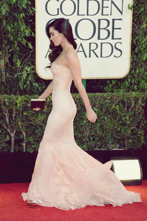 Ultra feminine flattering cream gown on Megan Fox