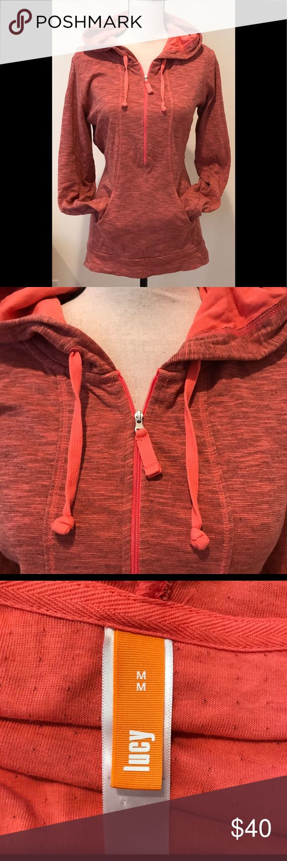 Lucy quarter zip coral jacket Lucy quarter zip coral jacket/hoodie. Adorable and warm. Excellent, like new condition. Lucy Jackets & Coats