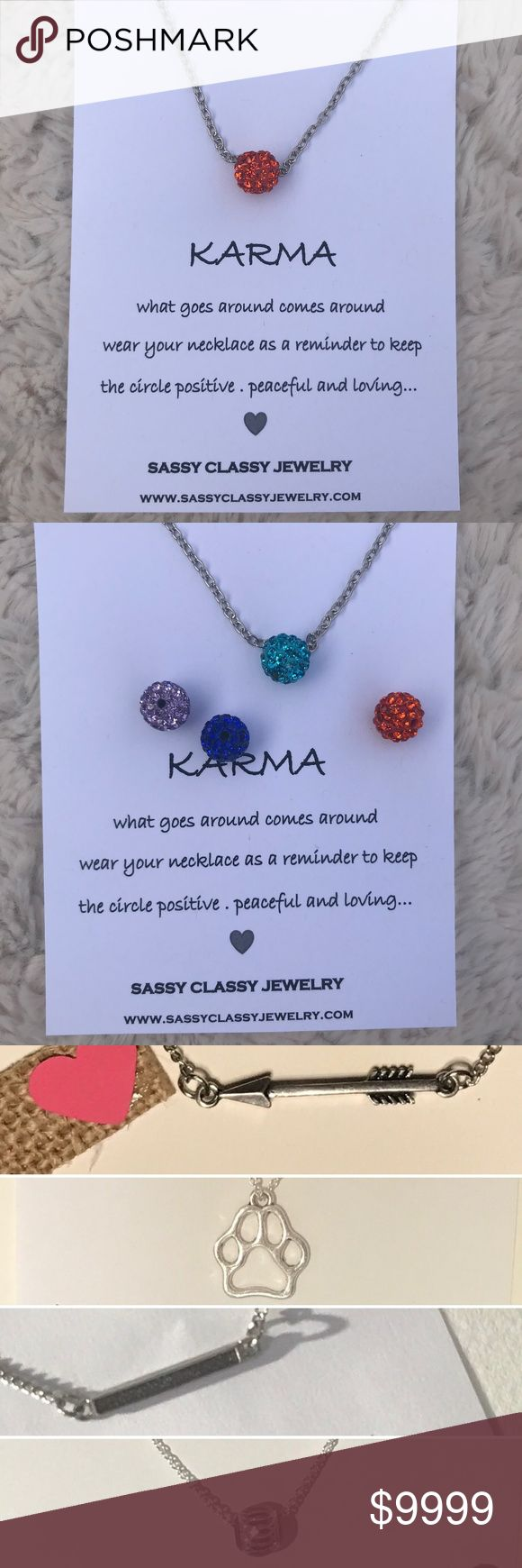 """Karma Necklace Orange Sparkle Bead Valentines Gift PERFECT VALENTINES DAY GIFT IDEA  xxx PRICE FIRM. I HAND MAKE THIS xxx  Orange Sparkle Bead Silver Necklace Gift with """"Karma"""" message card  Need multiples or want a different message card (see last 5 pictures)? No problem message me.   This is the perfect jewelry gift for your best friend, sister, mother, or whatever lady is in your life. Great gift idea for Valentine's Day, Galentine's Day, Christmas gifts, birthday present Sassy Classy…"""
