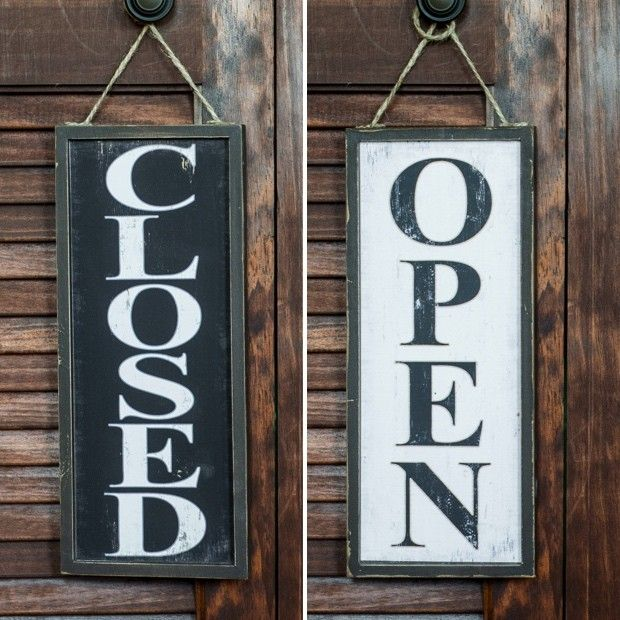 Vertical Open Or Closed Wood Sign