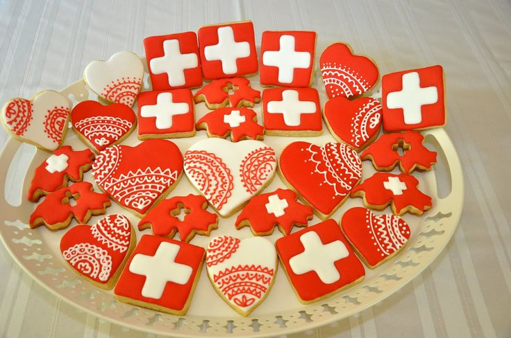 Cookies to celebrate Swiss Day! Flags, Switzerland, and embroidered hearts