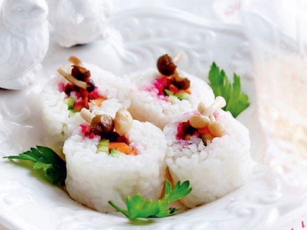 Sushi met komkommer, wortel en rode biet - Libelle Lekker!