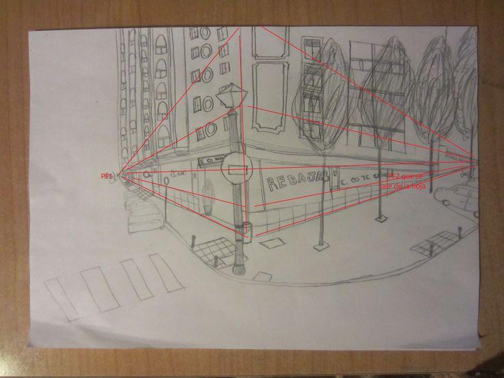 Ejercicio 2:  Este es el segundo dibujo que realicé.  Me pedían hacer una perspectiva cónica oblicua de un lugar urbano. Yo escogí la calle donde vivo.