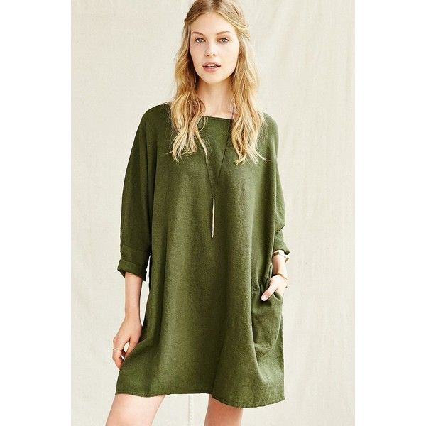 Urban Renewal Remade Linen Sack Dress ($69) ❤ liked on Polyvore featuring dresses, olive, dolman-sleeve dress, green swing dress, army green dress, draped dress and urban renewal dress