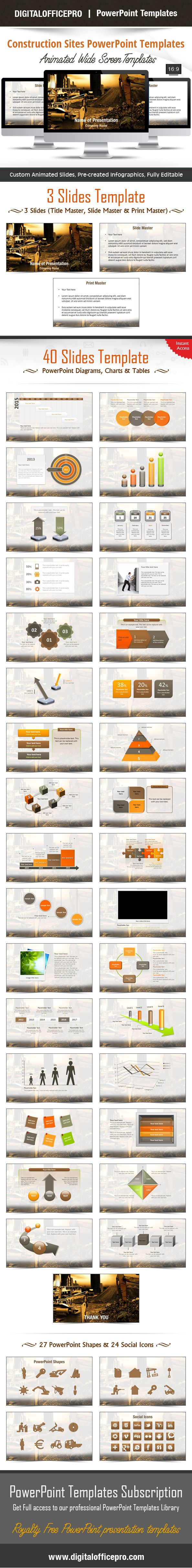 Impress and Engage your audience with Construction Sites PowerPoint Template and Construction Sites PowerPoint Backgrounds from DigitalOfficePro. Each template comes with a set of PowerPoint Diagrams, Charts & Shapes and are available for instant download.