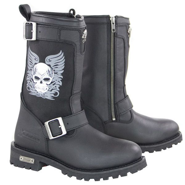 womens motorcycle boots Skull Boots with Poron Insoles ladies biker boots HOT…