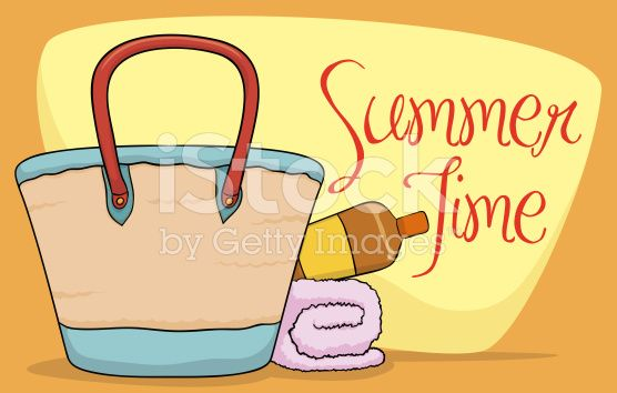 Beach Purse, Sunscreen Lotion and Towel in Summer Poster