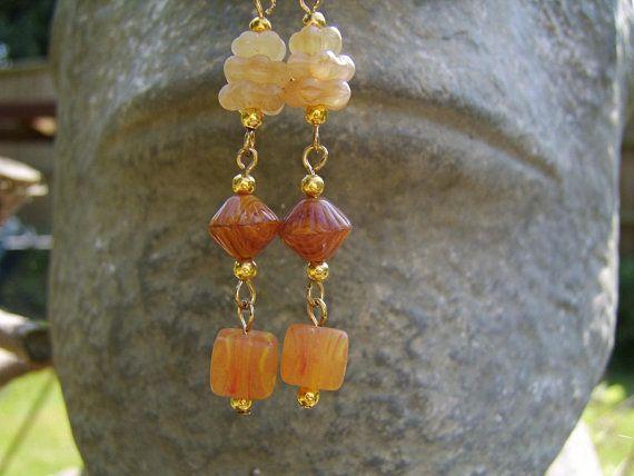 amber beads handmade boho earrings orange and gold lightweight dangly earrings OOAK polymer