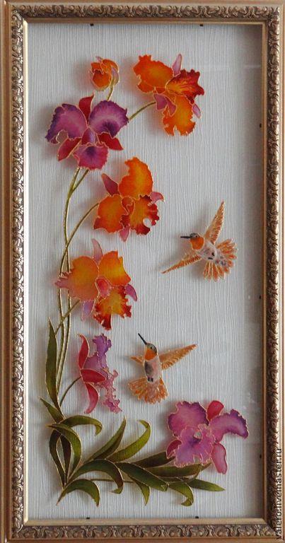 Картины цветов ручной работы. Ярмарка Мастеров - ручная работа. Купить Колибри на орхидее. Handmade. Стекло, Витраж, орхидея, колибри