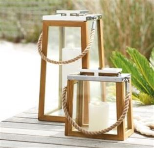 Beach Style Outdoor Wooden Candle Latern Holder