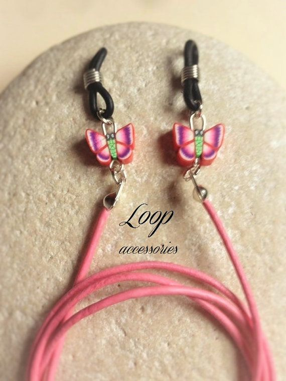 PINK BUTTERFLY  Girls Pink Leather by LoopAccessoriesShop on Etsy