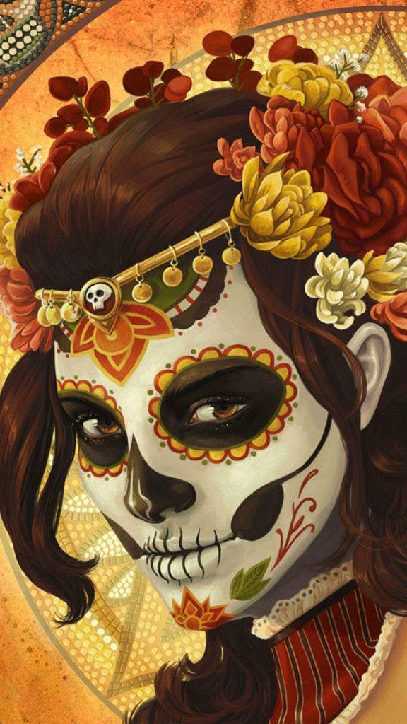 Girl Skull Mask Art