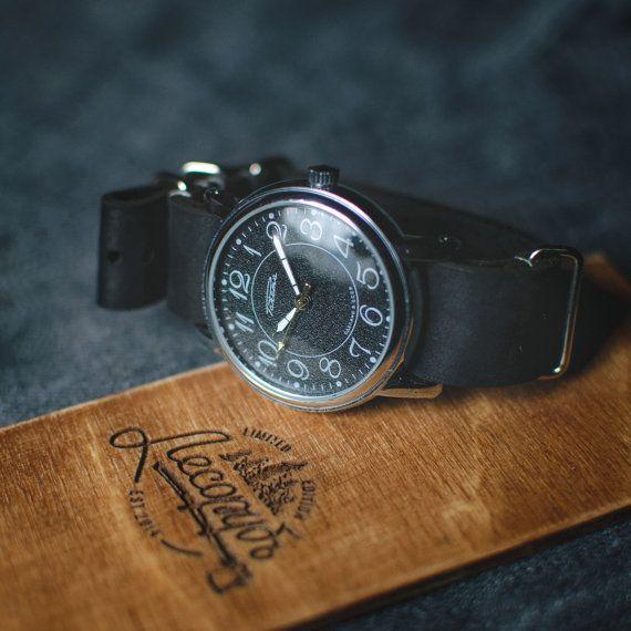 Nice men's watch Raketa, black wrist watch, mechanical watch, unisex watch, soviet watch, vintage mens watch