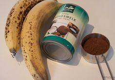 Healthy choco mousse. Chocolate mousse with bananas & coconut milk. Chocolademousse gemaakt van bananen en kokosmelk.