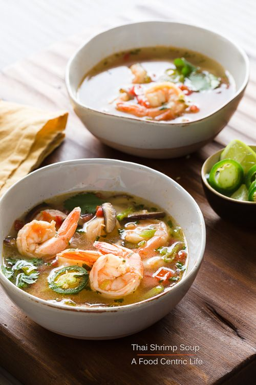 Perfumed with aromatic lemongrass and ginger, zing from lime juice, and heat from a jalapeño, this is my version of a classic Thai shrimp soup called Tom Yum. It is beautiful to both the eye and the tastebuds, plus it is easy to make in under 30 minutes for a quick but healthy meal. Make it mild or make it spicy. Just make it, for something different and delicious.