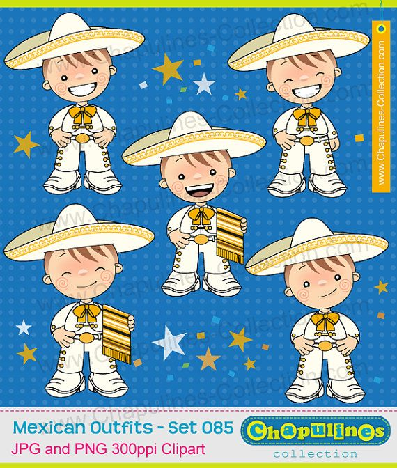 60% desc. Clipart de niños con traje de charro blanco con dorado, traje típico, Independencia, Revolución Mexicana, 5 de Mayo 084