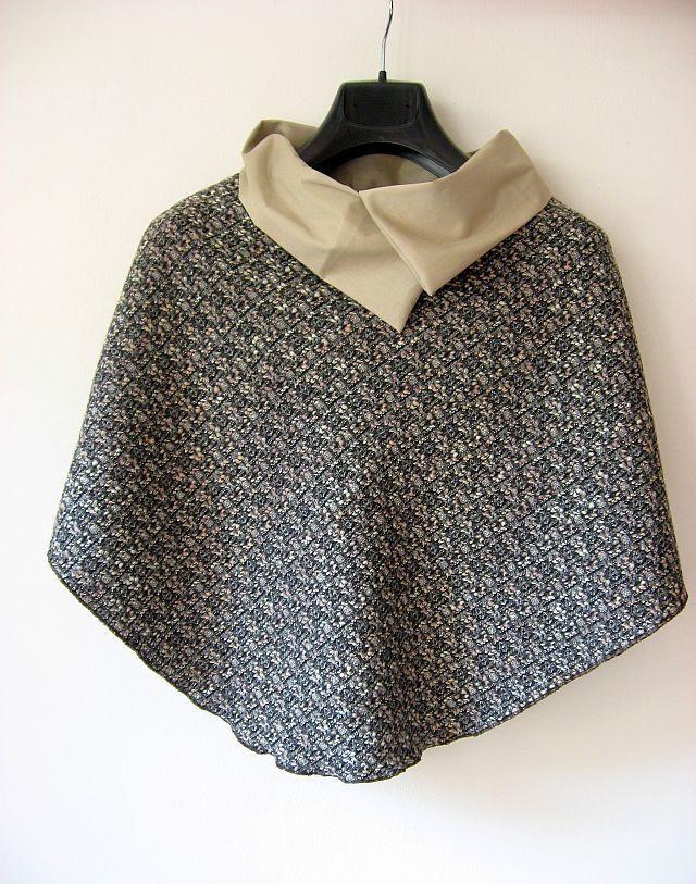 poncho, cape, mantellino, manteau, coprispalle, con collo, beige grigio rosa marrone : Sciarpe, foulard, cravatte di janecolori