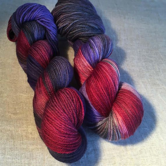Purple Burgundy and Grey Dyed 8ply DK Merino Wool