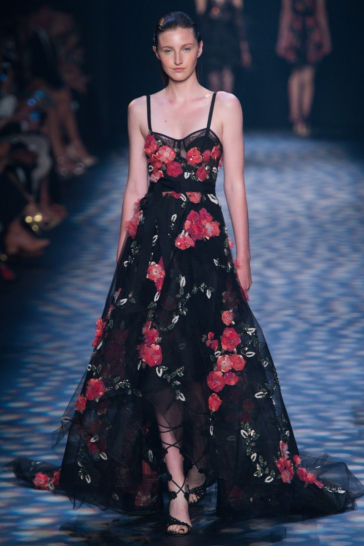 Marchesa   Spring 2017 Ready-to-Wear fashion collection   Black dress, embroidered floral