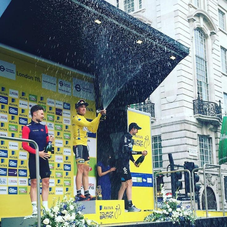 Champagne showers! The top three on the general classification during the podium presentat…NTM Qhubeka Edvald Boasson Hagan - 2nd SKY Wouter Poels and 3rd Team WIGGINS Owain Doull who also picke3d up the highest placed GB rider