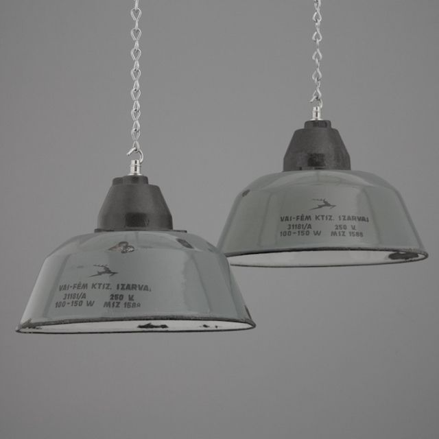 Vintage enamel factory lights salvaged from Hungarian industrial sites from Skinflint Design - original reclaimed and salvaged lighting from the Century & 422 best Vintage Lighting images on Pinterest | Vintage lighting ... azcodes.com