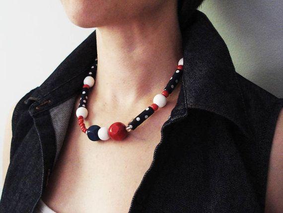 Poppy ooak handrolled fiber bead polka dot necklace. Navy by Joogr, €24.00